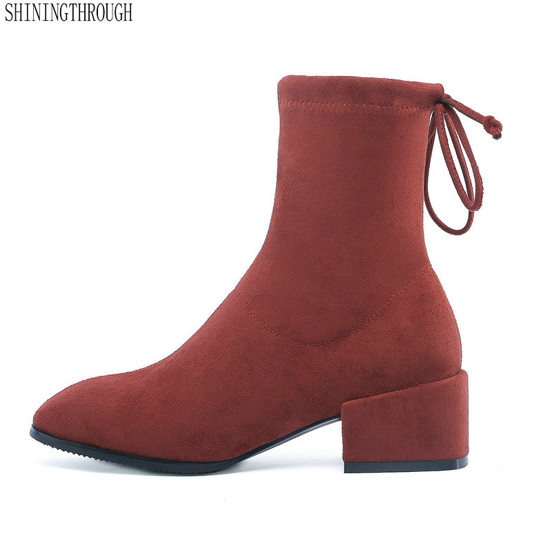 Ankle Boots Women Top Quality Brand Genuine Leather Cow Suede square Toe lace up High Heel Shoes Handmade стоимость