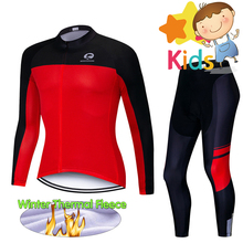 Children's Winter Cycling Clothing Set Pro Team Bike Wear with Thermal Fleece Bicycle Jersey Set Ropa Ciclismo Cycling Suit Kids nw 2018 team pro cycling team jersey winter thermal fleece racing sport bicycle clothing ropa ciclismo mountain