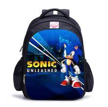 Dzieci Sonic The Hedgehog plecak piękny tornister dla chłopców i dziewcząt piękny tornister ortopedyczne plecak mochila escolar tanie tanio KKABBYII NYLON zipper Backpack 0 5kg 42cm Cartoon kids school bag Unisex 32cm 17cm Torby szkolne