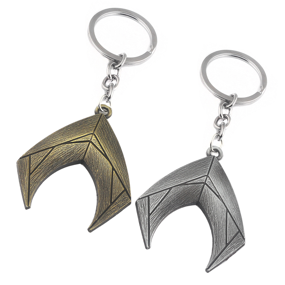 SG Fashion Jewelry JUSTICE LEAGUE Keychain 2 Color Simple Aquaman Logo Keyring Pendant Gift For Friends Best Gift Chaveiro
