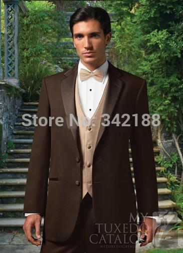 Best Selling Chocolate Notch Lapel Groom Tuxedos/Groomsmen Best Man Suit/Men Wedding Suits/Bridegroom Suit/wester Suitswedding M