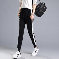 New Spring Fashion Side Stripe Pants Female White Bar Patchwork Harem Pants Leisure Sweatpants Women Casual