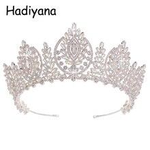 Hadiyana яркий кубический циркон Свадебные аксессуары Корона Люкс тиара, диадема Pageant крон украшения для волос ювелирный завод HG6053