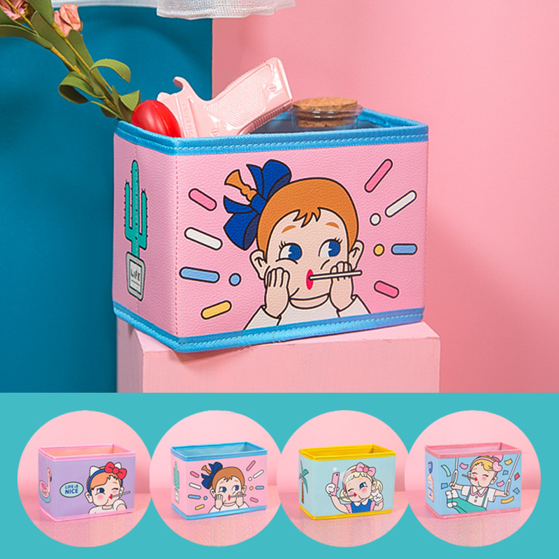 цена Cute Kawaii Pen Stationery Holders PU Pencil Organizer Desk Set Accessories Office School Square Container desktop Storage Box