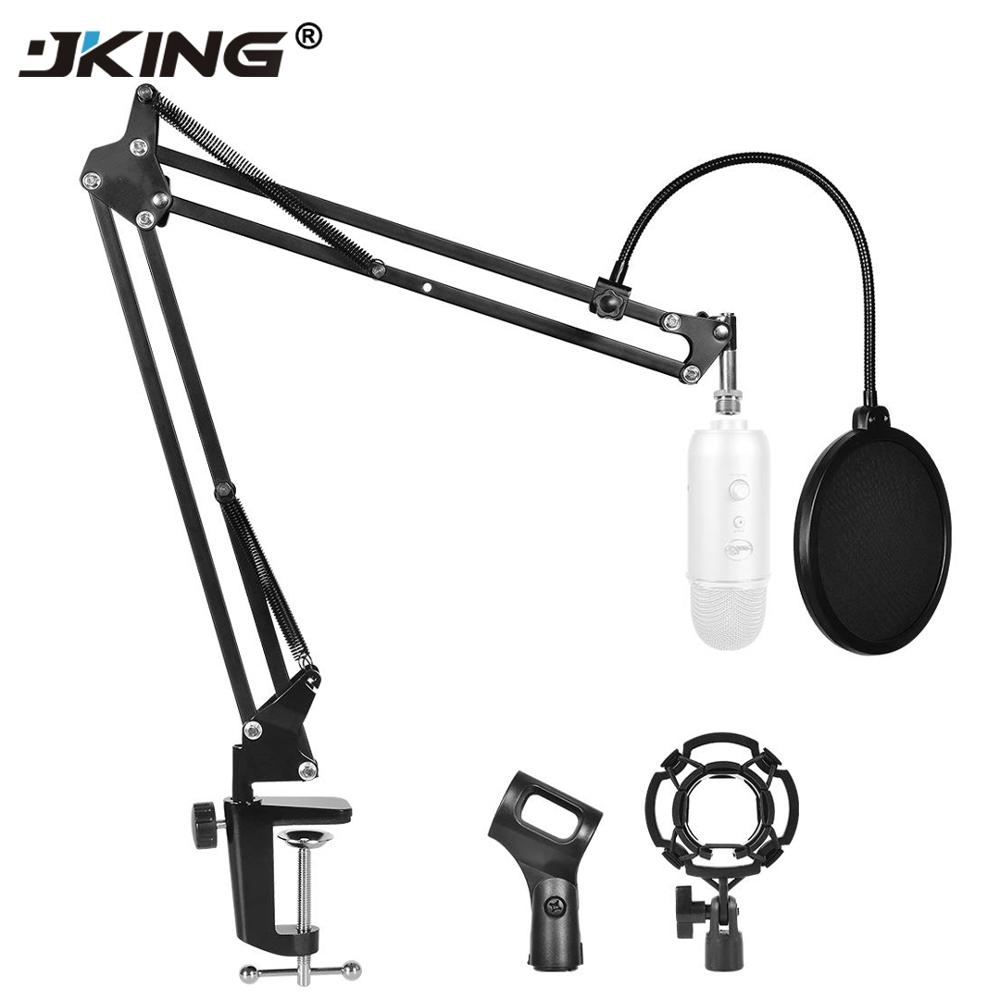 JKING NB-35 Microphone Scissor Arm Stand Mic Clip Holder And Table Mounting Clamp&NW Filter Windscreen Shield & Metal Mount Kit