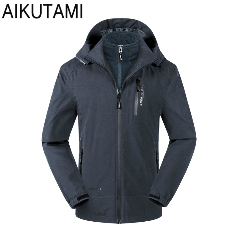Outdoor 3 In 1 Soft Shell Waterproof Jacket Men Fleece Double Warm Windproof Sport Hiking Jackets Softshell Hunting Clothes outdoor female hiking soft shell jacket suits with soft shell fleece pant sport waterproof breathable warm fleece rain jacket