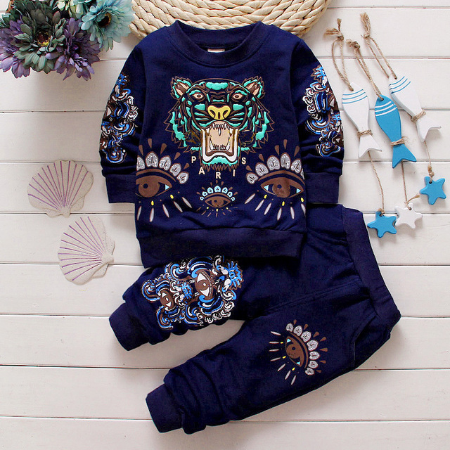 Newest 2016 Spring Baby Boys Girls Tiger Design suits Infant/Newborn Clothes Sets Kids Casual tracksuits Children Suits