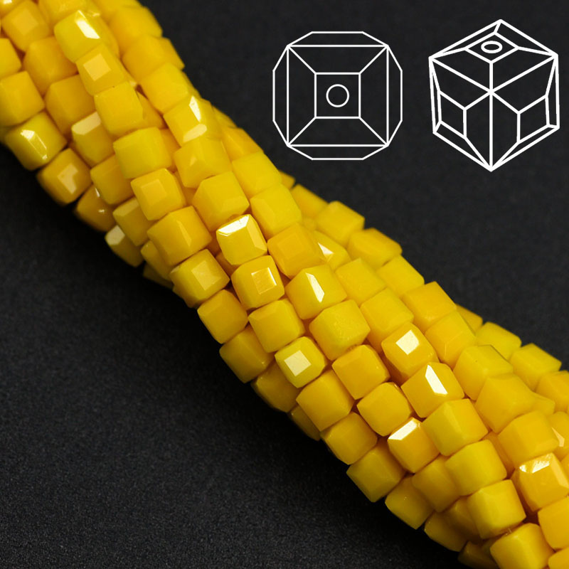 ZHUBI 95pcs 3mm Fashion Spacer Cube Faceted Crystal Bead Charms Candy Glass Square Beads For Jewelry Making Beaded Braclets