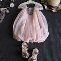 2016 summer new pink baby girls dress sleeveless infant girls clothes for party pearl girls wedding dress suit 2-7T vestido