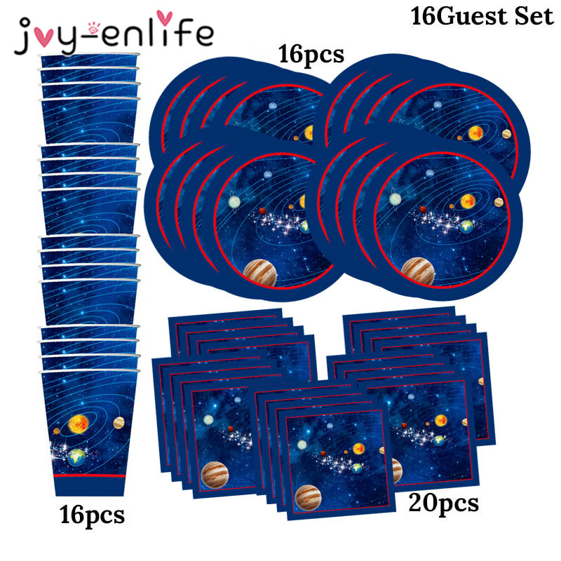 52pcs Outer Space Solar System Planet Galaxy Party 16 Guest Kids Birthday Party Disposable Tableware Paper Plates Cups Napkins