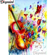 Dispaint Full Square/Round Drill 5D DIY Diamond Painting Violin color butterfly 3D Embroidery Cross Stitch Home Decor A12488