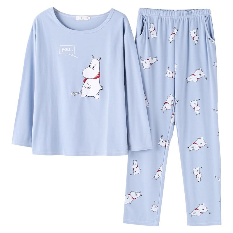 New Cute Sleepwear Women   Pajama     Sets   Women Hippo Print Long Sleeve Round Neck Blue Pants   Pajama     Set   Big Size M-XXL Sleep Lounge