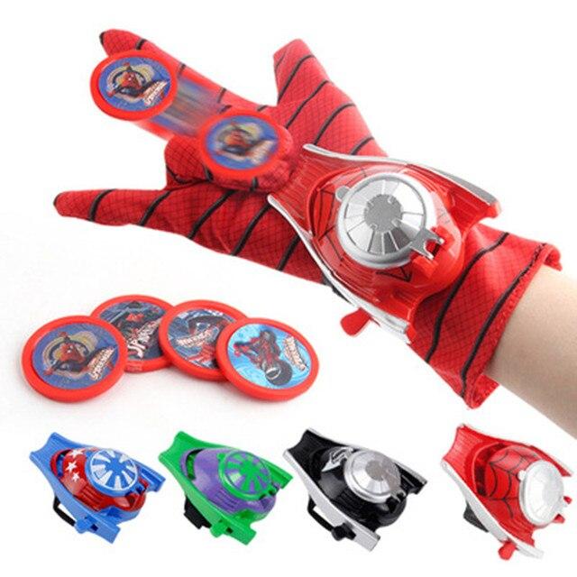2018 nova 5 estilos Luva de PVC 24 cm Batman Figura de Ação Spiderman Homem Aranha Cosplay brinquedos Lançador de Brinquedo Crianças Adequado livre grátis