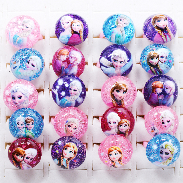 20Pcs Mixed Lots Cute Cartoon Lovely Animation Elsa anna Resin Rings for Children Kid Girls Baby adjustable Jewelry dropship