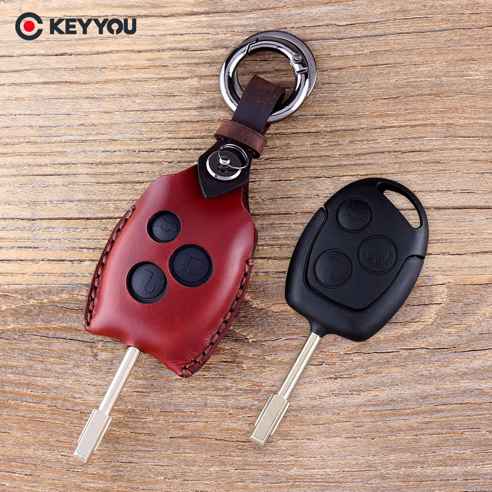 KEYYOU Leather Car Key Case 3 Buttons Remote Key Shell Fob Car Key Cover For Ford Mondeo Focus Transit Key Cover Keychain цена