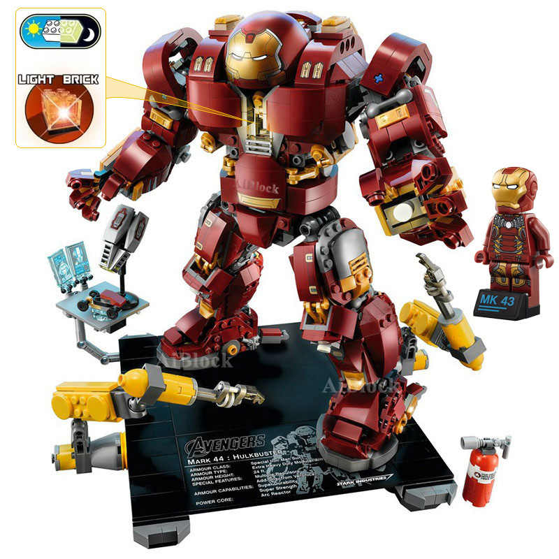 Iron Man Hulkbuster Legoing 76105 Marvel Ironman Avengers Super Heroes Model Building Blocks Boys Birthday Gifts Children Toys