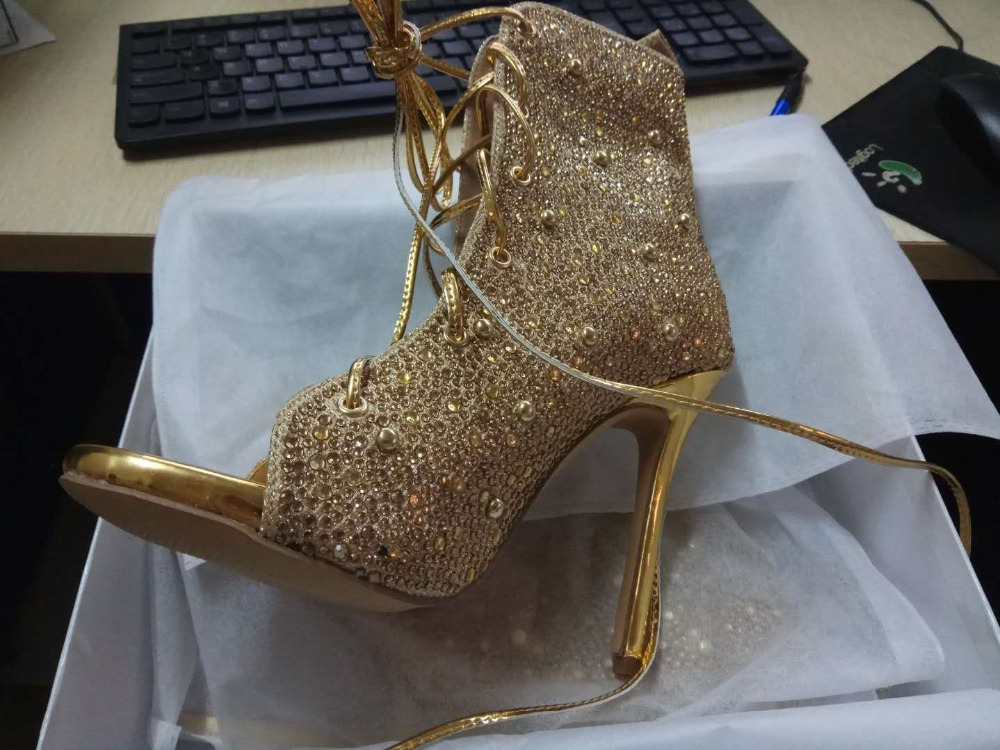 Luxury Gold Crystal Ankle Boots Peep Toe Lace-up Short Bootie Women Dress Shoes High Heel Glatiator Sandals Boots Size 10