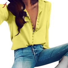2017 Women Casual Solid Long Sleeves  Lapel Shirt Turn-down Collar Button Woman Blouses Shirts 5 Color Plus Size