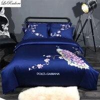 Satin 4 Pieces Bedding Sets 100% Cotton Phoenix Embroidery Bed Linens Bed Sheets Set Jacquard Bedclothes Bedding Set 4pcs