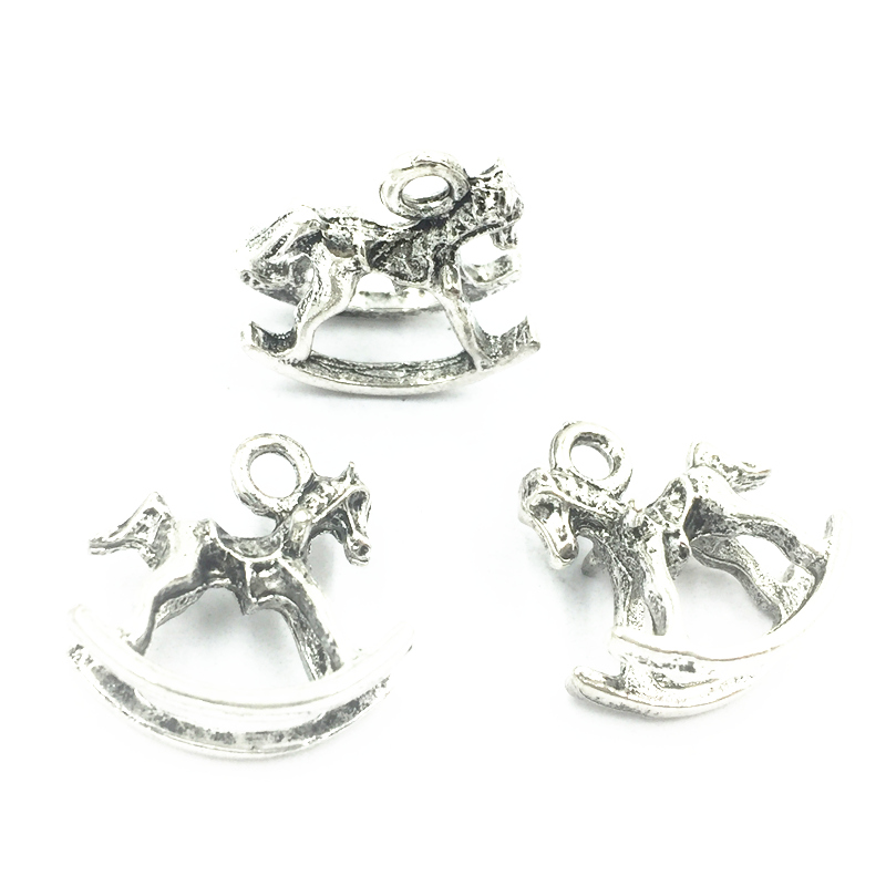 20Pcs Antique Silver Tone Childrens Trojan Horse Animal Metal Pendants For Bracelets Fashion Craft Jewelry DIY Findings 16x15mm