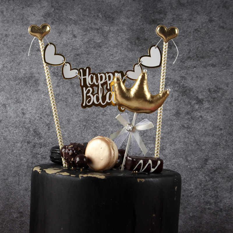 Doce bowknot coroa cisne happy birthday cake topper decoração do bolo chá de bebê da festa de aniversário crianças suprimentos favor do casamento