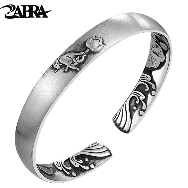 ZABRA Solid Pure 999 Sterling Silver 8mm Lotus Vintage Open Cuff Bracelet Women Guanyin Hand Trendy Rock Bangles Girl Jewelry