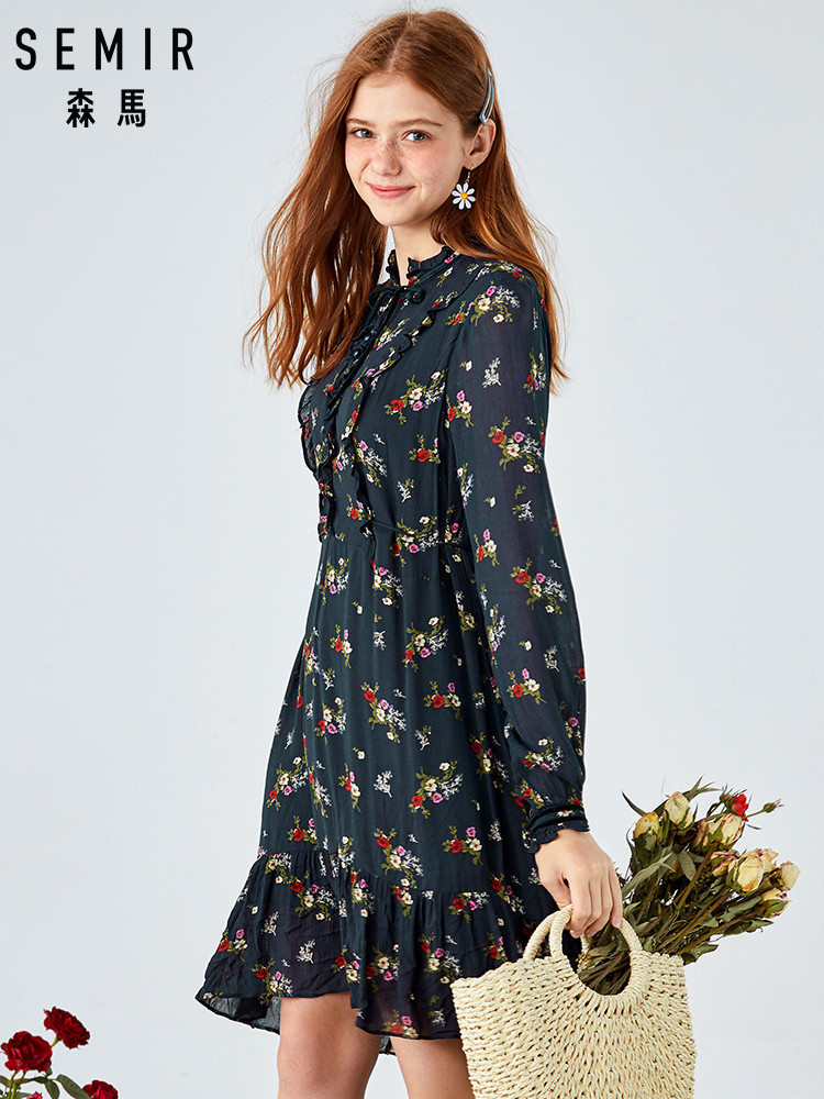 SEMIR Dress Women Autumn New Sweet Retro Wooden Ear Floral Dress Waist Slim Long Sleeve Fairy Fashion Sexy Dress For Party