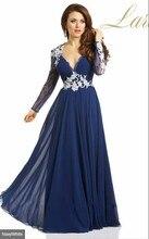 Elegante Lange Spitze Chiffon Abendkleider Party Vestido De Festa Longo Billig Modischen Kleid Für Prom Maß 2015 Neue