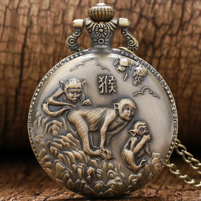Retro 3D Monkey Design Bronze Quartz Pocket Watch With Necklace Chain Free Drop Shipping Gift To Children Kids