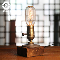 OYGROUP Retro Coffee Shop Table Lamp&Blubs Wood Vintage Desk Lamp Edison Bedroom Bar Table Light Desk Light Wooden#OY16T10