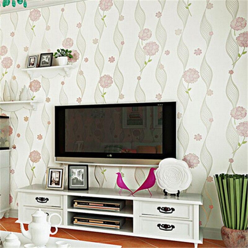 ФОТО beibehang Non woven Embossed Wallpaper Pastoral Style Flower Pattern Wallpaper roll Living Room Girl Room Minimalist Stripe Wall