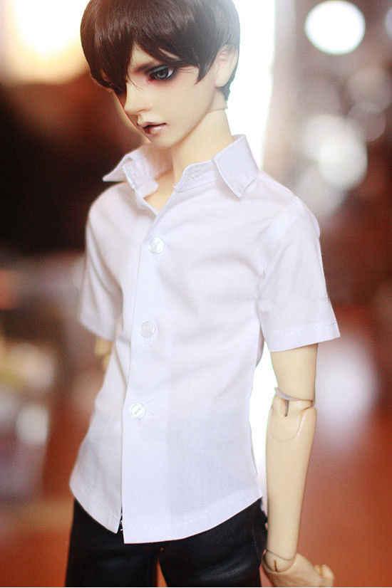 New BOY White Gentleman Collar Shirt //Tops For 1//4 1//3 Bjd MSD Doll Clothes
