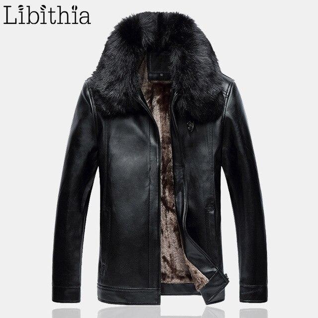 Men Fleece Casual Straight Jacket Mens Winter Buttons Coat With Detachable Fur Collar Big Size 5XL Clothes Male Black Brown K186