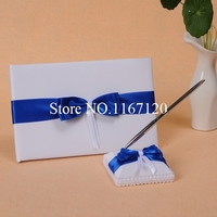 Fashion Design White and Royal blue Bowknot Satin Wedding Guest book&Pen Holder set wedding Party Accessories(B06)