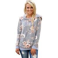 Printed Floral Hoodies Women 2017 Autumn Winter New Fashion Casual Gray Hooded Sweatshirt Female Long Sleeve