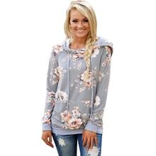С цветочным принтом Худи Для женщин осень 2017 г. Новинка зимы модные Повседневное Серый капюшоном женский с длинным рукавом Пуловеры