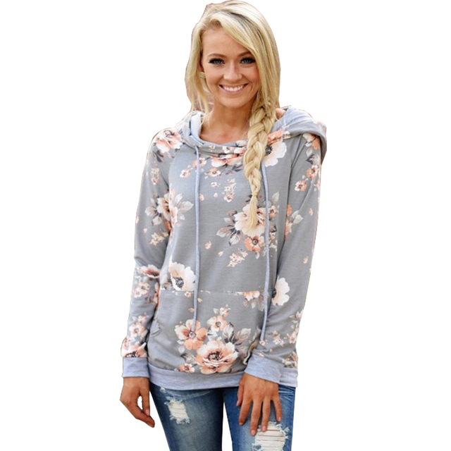 Printed Floral Hoodies Women 2018 Autumn Winter New Fashion Casual Gray Hooded Sweatshirt Female Long Sleeve Pullovers