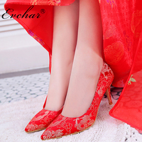 New Elegant red wedding shoes Chineses style bridal cheongsam dress shoes thin high heels women pumps size 34 39