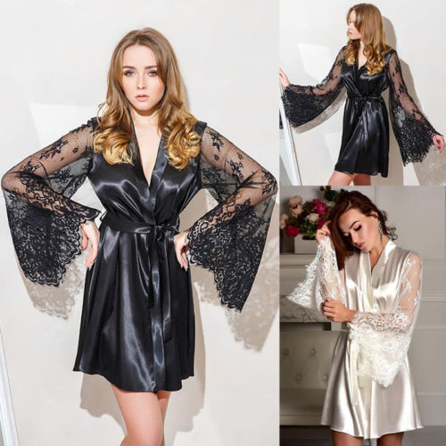 Autumn Sexy Lingerie Women Silk Lace Flare Sleeve Robe Babydoll Nightdress Nightgown Sleepwear