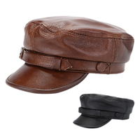 Mistdawn 100% Genuine Leather Men's Military Army Cap Flat Top Newsboy Cabbie Golf Hat