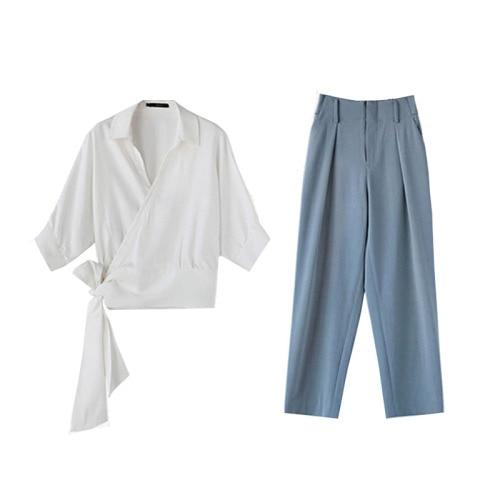 New Spring Elegant Korean Two Piece Set Woman's V Neck Brief Casual 2 Pcs Set Vintage Wide Leg Pants Twinset