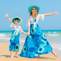 Mother Daughter Long Dresses Fashion Bohemian Style Girls Boho Dress Sleeveless Mommy and Me Clothes Family Matching Outfits
