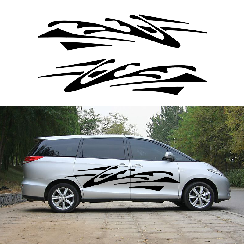 2 X Abstract Impressionist Art Stripes Chaos Traces of Car Stickers for Motorhome Camper Van Trailer Truck Vinyl Decal