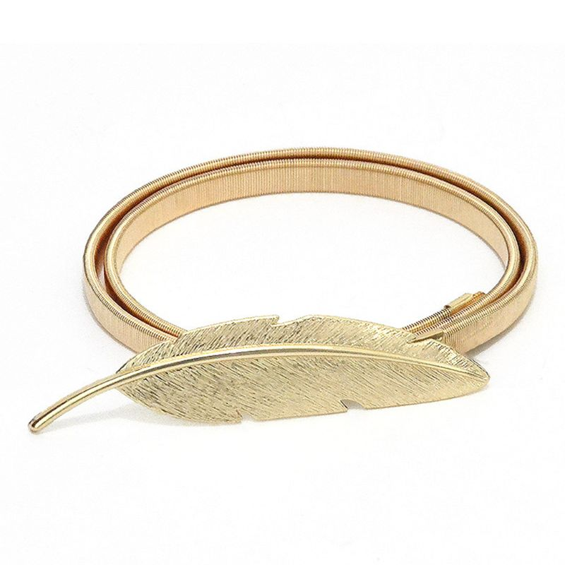 Womens Metal Stretch Elastic Chain Vintage Big Leaf Shape Interlocking Buckle Waistband Glitter Gold Thin Waist Belt