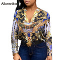 Ailunsnika 2017 Autumn Women Sexy Fashion National Print Tops Loose Patchwork Full Sleeve V Neck Casual Blouse OS2155