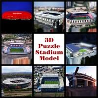 New Clever Happy 3D Puzzle Model Real Photo Soccerfootball Souvenir Adult Diy Paper Satdium Toys Chrismas