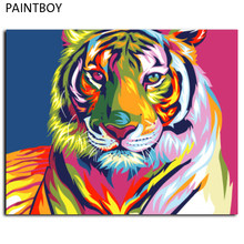 Abstract Tiger Frameless Pictures Painting By Numbers DIY Oil Painting On Canvas Home Decoration For Living Room GX9203 40*50cm(China)