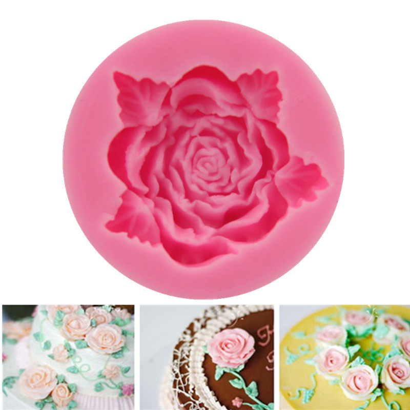 Handmade 1 Pcs Rose Flower Silicone Cake Molds Fondant Chocolate Soap Mold 3D Silicon Baking Forms Cooking Bakeware Polymer Clay