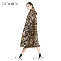 Европейская мода Женская X-Long искусственный мех леопардовое пальто Женская куртка из искусственного меха Gilet Pelliccia женские меховые пальто ...