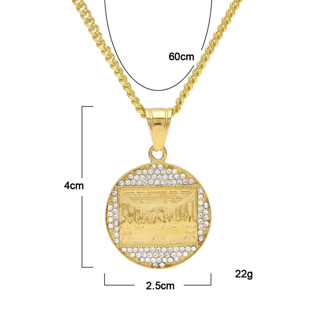 Uwin The Last Supper Pendant Necklace Stainless Steel Gold Color Judea Jesus Medallion Italy DaVinci Jewelry  Drop Shipping